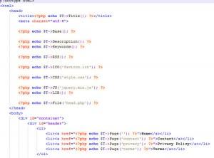 Пример кода для SED шаблона